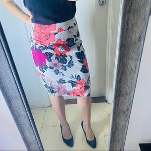 Floral Ann Taylor Pencil Skirt